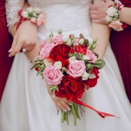 Bouquet peonie Rosse e Rosa