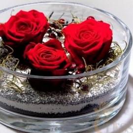 Composizione Rose Stabilizzate bassa