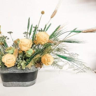 Composizione fiori stabilizzati country