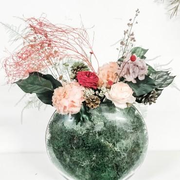 Vaso Vetro con composizione fiori e rose eterne