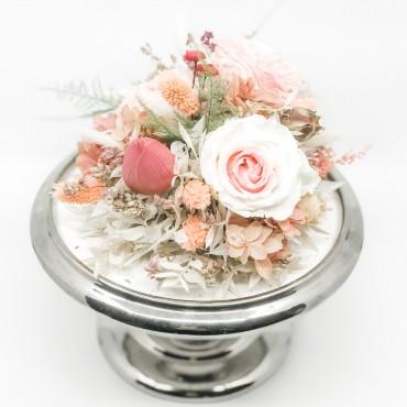 Cloche tortiera con fiori stabilizzati ed essiccati