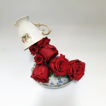 Tazzina sospesa con rose stabilizzate