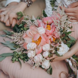 Bouquet Country Rosa Con Succulente