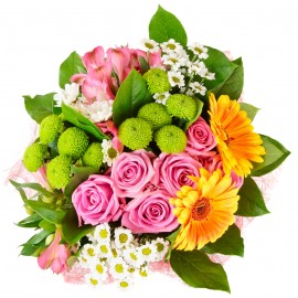Bouquet Mix Rosa Verde Giallo