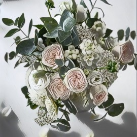 Bouquet rose inglesi lisianthus e dalie