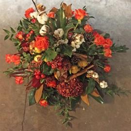 Composizione Rose Cannella e fiori di Cotone