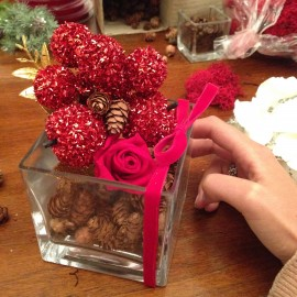 Composizione natalizia rosellina stabilizzata rossa