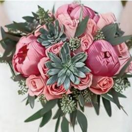 Bouquet peonie e piante grasse