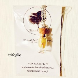 Collana/Orecchini ampolla con fiore essiccato